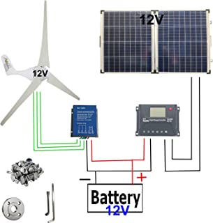 Wind Solar Power 500W : Wind Turbine Generator 12V 400W + 100 Watt 12 Volt Monocrystalline Off Grid Portable Foldable 2Pcs 50W Solar Panel+Wind Turbine Controller+Solar Charge Controller+Accessories