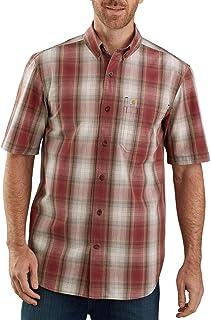 Carhartt Men's 104174 Relaxed Fit Lightweight Plaid Shirt - Medium - Dark Barn Red