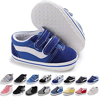 Meckior Baby Girls Boys Canvas Sneakers Soft Sole High-Top Ankle Infant First Walkers Crib Shoes