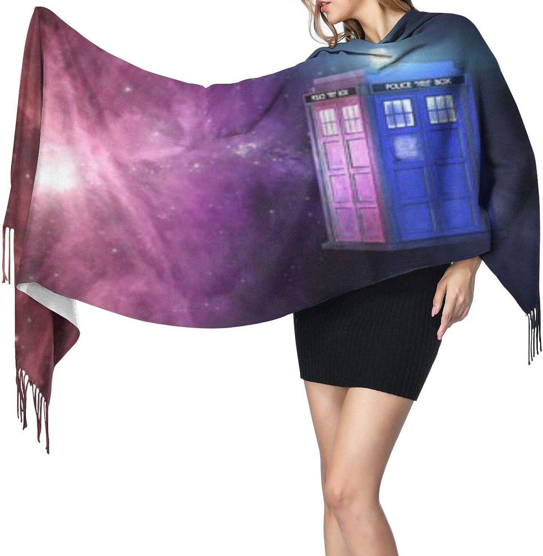 Cashmere fringed scarf Time traveler blue phone box winter extra large scarf