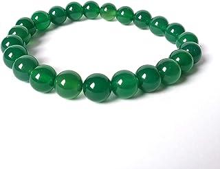 Bracciale Agata Verde Donna, Pietre Dure Naturali, Elastico 19 cm, Fatto a Mano