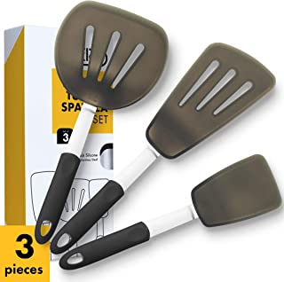 Klee 3-Piece Heat-Resistant Silicone Turner Spatula Set, Extra Large, Black