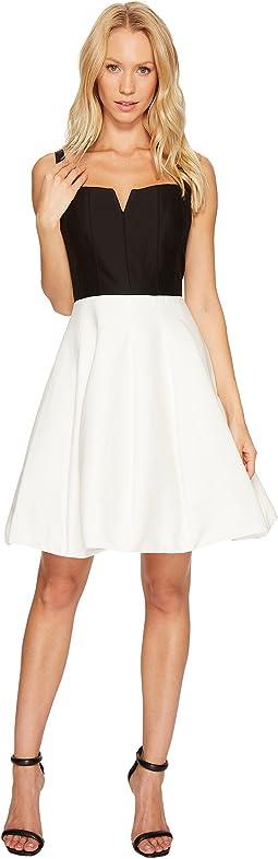 Halston Heritage - Sleeveless Geo Neck Color Block Silk Faille Dress