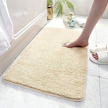 ICCPI バスマット 足ふきマット速乾 吸水 抗菌 柔らかい & ふわふわ お風呂マット に適用する浴室マット 玄関 マット 廊下 洗面台 寝室 (ベージュ, 40*60cm)