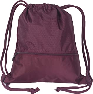 8c3de14ea1 Double Sturdy Drawstring Bag With Pockets Waterproof Gym Sports Large  Backpack (Large