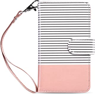 ULAK iPhone 6s Case, iPhone 6 Case, 6s Wallet Case, Wallet iPhone 6S Leather Case Synthetic Folio 9 Card Multi-Slots Flip for Women for Apple iPhone 6s/6 4.7 Inch (Rose Gold Stripes)
