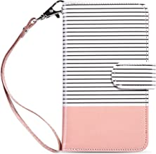 ULAK Galaxy S7 Wallet Case, Magnetic Premium PU Leather Flip Stand Folio Cover with Built-in 9 Slots and Wrist Strap for Samsung Galaxy S7 (5.1 inch) 2016 Release (Pink + White) Will not Fit S7 Edge