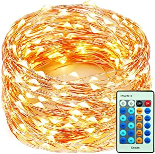 Decute 99 Feet 300 LEDs Copper Wire Christmas String Lights Dimmable with Remote Control, Fairy Starry Lights with UL Cerficated Decorative for Party Wedding Bedroom Christmas Tree, Warm White