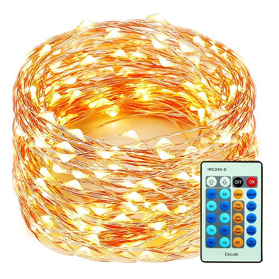99 Feet 300 LEDs Copper Wire String Lights Dimmable with Remote Control, Decobree Christmas Lights with UL Listed for Party Wedding Bedroom Christmas Tree, Warm White