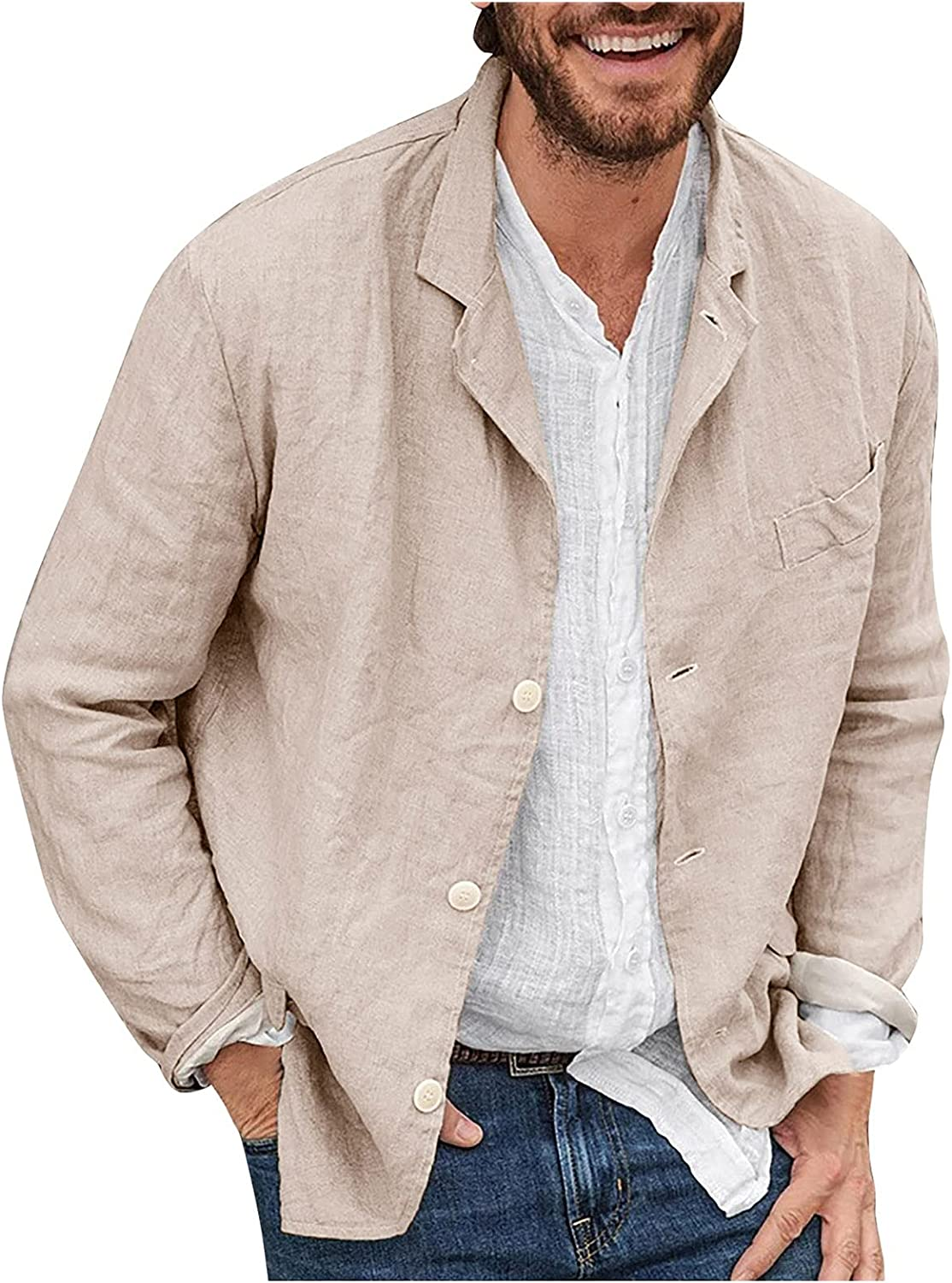 WOCACHI Cotton Linen Shirts for Mens, Button Down Lapel Casual Tops Lightweight Outerwear Shirt with Front Pocket
