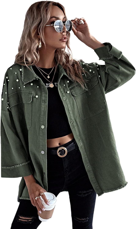 MakeMeChic Women's Button Front Long Sleeve Drop Shoulder Pocket Coat Jacket