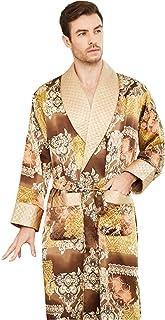Pijamas de Seda para Hombre Pijamas Largos de Seda de Gusano de Seda Albornoces Servicio a Domicilio Doble Capa Engrosamiento Primavera Otoño e Invierno