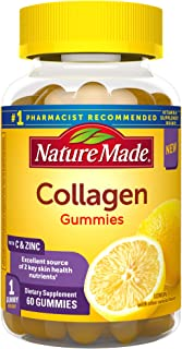 Nature Made Collagen Gummies, 100mg Hydrolyzed Collagen, Helps Support Healthy Skin, Gluten Free, Lemon, 60 Count