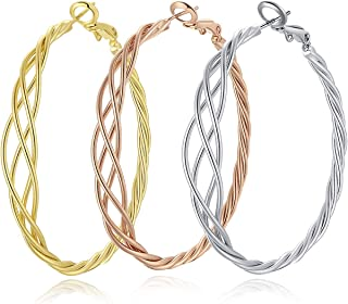 3 Pairs Twisted Big Hoop Earrings Set for Women Sterling Silver Post 14K Gold White Gold Rose Gold Plated Big Hoop Earring...