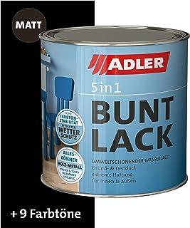 ADLER 5in1 Buntlack für Innen und Außen - Matt - 125ml- Wetterfester Lack und Grundierung für Holz, Metall & Kunststoff RAL9005 Tiefschwarz