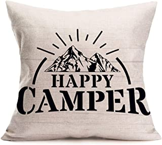 """Fukeen Happy Camper Inspirational Quotes Cotton Linen Pillow Cases Outdoor Camping Warm Letters for New Home Office Decor Pillowcase 18""""x18"""""""