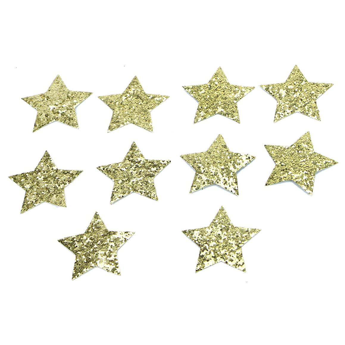 Monrocco 10Pcs Gold Iron-on Sequins Star Heart Shaped Patch Decoration DIY Appliques