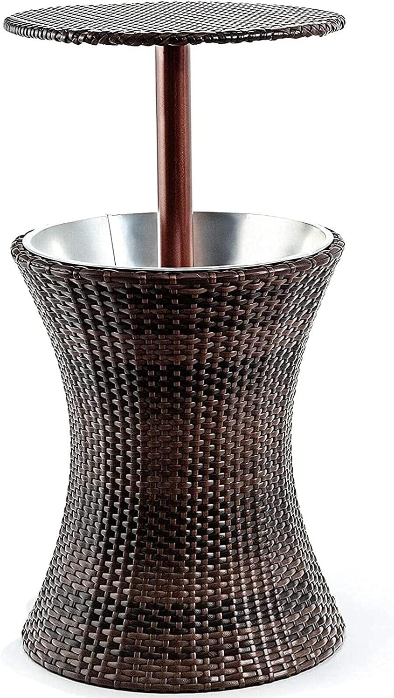 Barra fresca Estilo de ratán resistente a la intemperie resistente al revestimiento de hierro negro de hierro galvanizado Hola interior de la mesa de la mesa de la mesa del enfriador ajustable