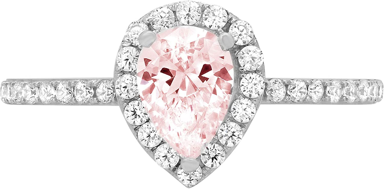 1.22ct Brilliant Outlet sale feature Pear Cut Solitaire Classic Pink with accent Simulated D