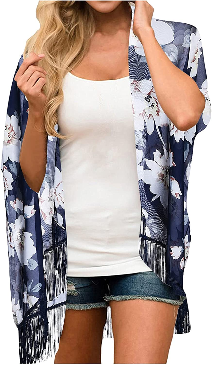 Swim Cover Up for Womens Tassel Kimono Cardigans Chiffon Casual Loose Open Front Cover Ups Tops