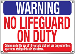 Poolmaster Sign for Residential or Commercial Swimming Pools, Warning No Lifeguard