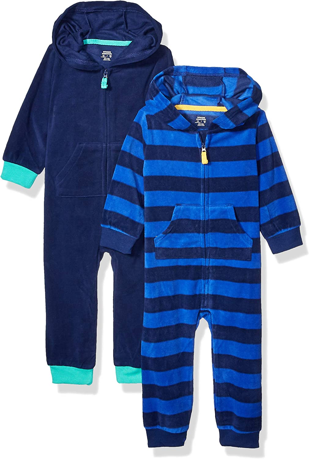 Essentials Boys Toddler 2-Pack Microfleece Hooded Coverall