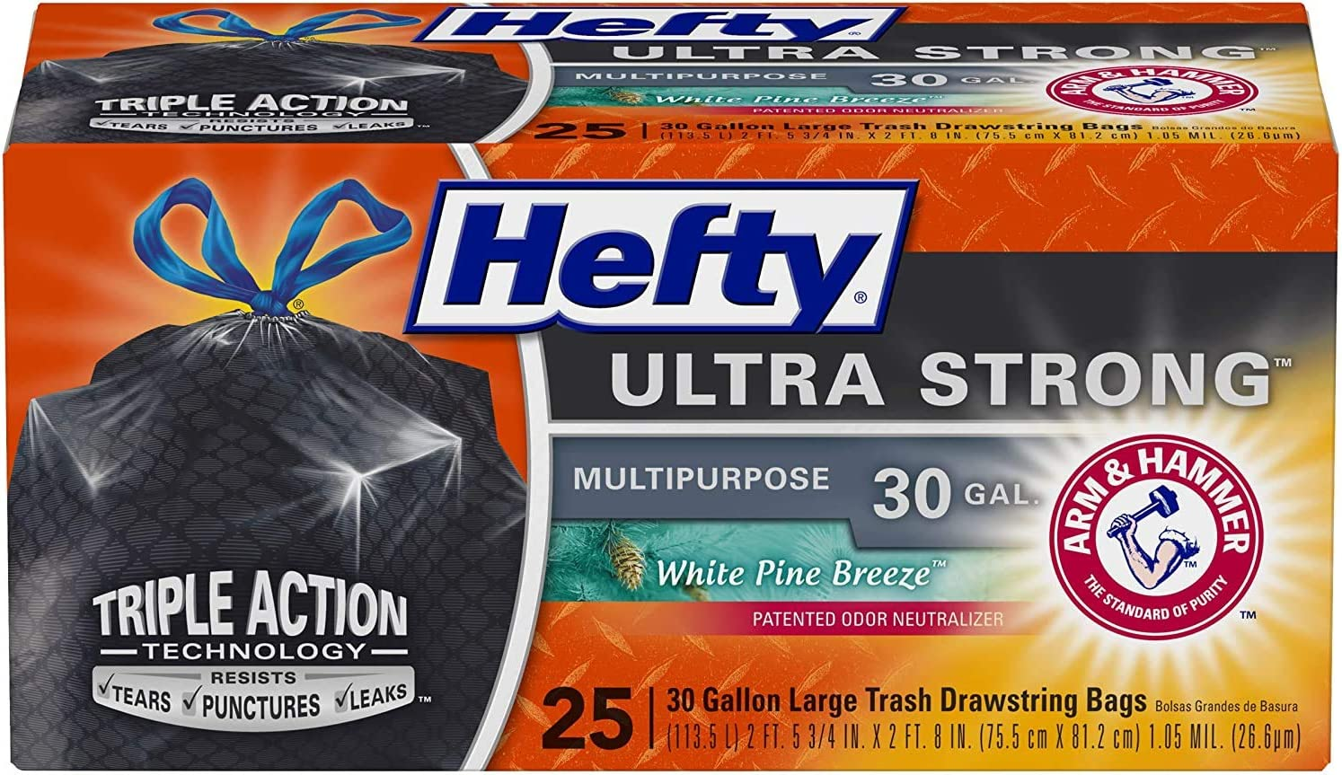 25 Count Black White Pine Breeze Scent New Version Hefty Ultra Strong Multipurpose Large Trash Bags 30 Gallon