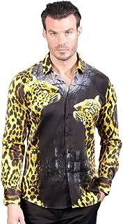 Men/'s Barabas Cotton Red Flow Paisley Printed Slim Fit Button Down Shirt 6020