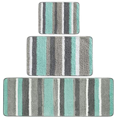 mDesign Soft Microfiber Polyester Spa Rugs for Bathroom Vanity, Tub/Shower - Water Absorbent, Machine Washable - Plush Non-Slip Rectangular Accent Rug Mat -Striped Design, Set of 3 Sizes - Mint/Gray