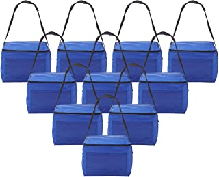 Small Cooler Bags Insulated, Lunch Boxes - 10 Pack - Fits 6 Pack- Blue