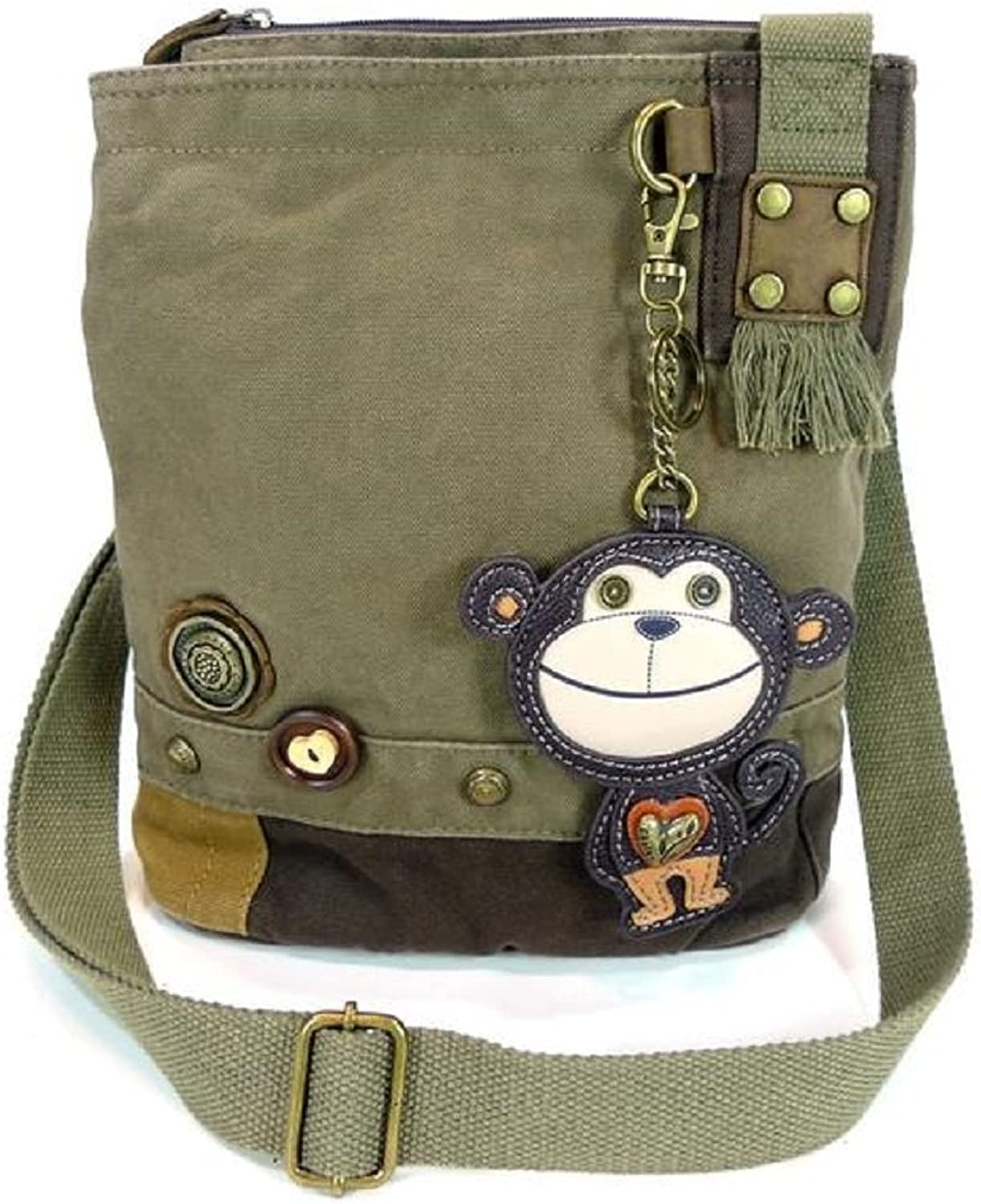Chala Handbag Patch Crossbody SMARTIE MONKEY Dark Olive Green Canvas