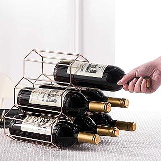 MYAOU Casier à vin en Or Rose Debout Libre 6 Bouteilles de Cuisine casiers à vin et armoires Support de Rangement Affichag...