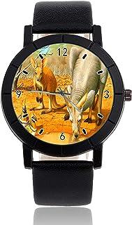 Reloj de Pulsera Unisex con Correa de Piel Negra y Correa de Piel para Hombres y Mujeres, diseño de canguros y pájaros