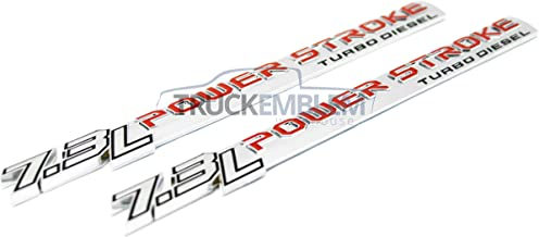 2 NEW CUSTOM POWER STROKE 7.3L CHROME WITH RED LETTERING F250 F350 DOOR BADGES