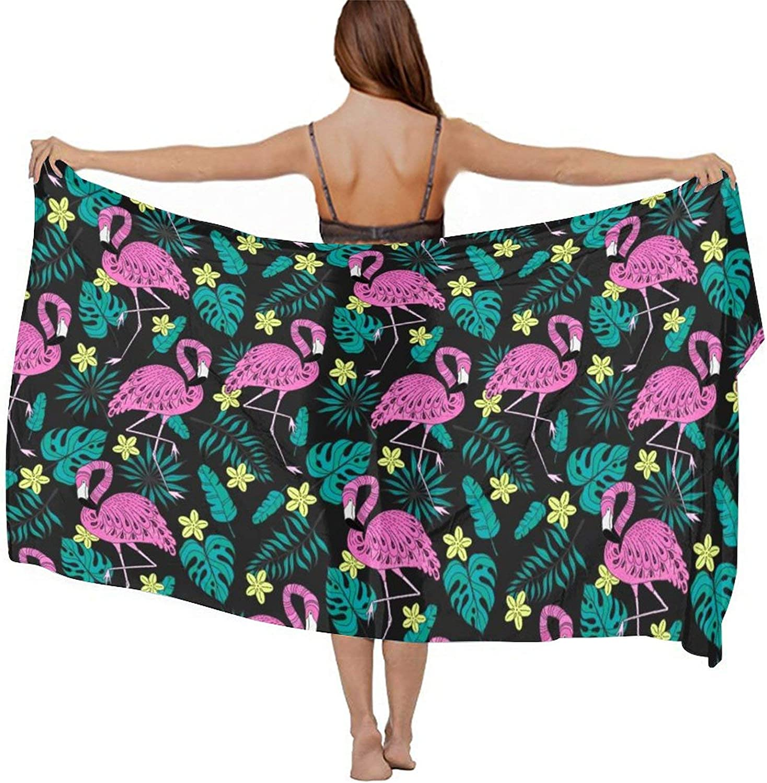 Women's Chiffon Tropical Palm Tree Banana Leaves Pink Flamingo Green Beach Scarf Smooth Sunscreen Wrap Shawl Scarves Bikini Cover-Up Wrap Scarf Swimsuit Sarongs Summer Beach Cover Ups