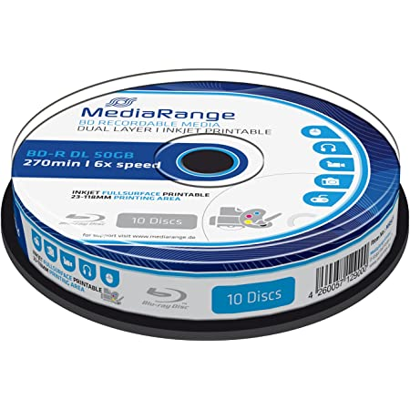 MediaRange MR509 - Discos de Blu-ray vírgenes (10 unidades), blanco