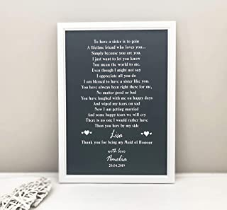 "Thank You Sister on My Wedding Day Gift, Personalised Maid of Honour Thank You Print, Poster, Photo Card, Unframed Print5"" x 7"" / 8"" x 10"" / A4 / A5 P10"