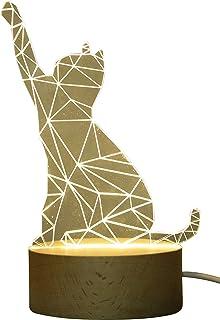 Innerest 3D Cat Dog Bear Night Light Table Lamp Home D?cor Animal Sculpture Hardwood Kids Bed Lighting (Warm- Hardwood One...