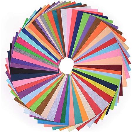 HellDoler Tissu en Feutre, 60pcs DIY Feuille de Feutrine 20x30cm Multi-Couleurs pour Artisanat Patchwork Couture ou Bricolage Décorations