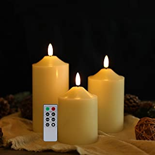 JHY DESIGN 3D Flameless Candles Set 4/5/6inch High Real Wax Battery Candle Pillars Flickering LED Candles with 8-Key Remot...