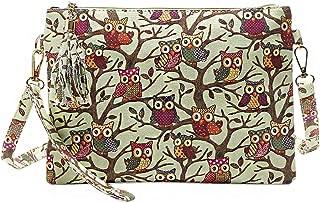 Candice Women Printing Owl Crossbody Bag Canvas Tassel Handbag Shoulder Bag Clutch Purse Envelope Wrist Bag