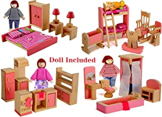Giraffe US Wood Family Dollhouse Furniture Set, Pink Miniature Bathroom/ Kid Room/ Bedroom/ Kitchen House Furniture Dollhouse Decoration with 4 People Wooden Family Dolls (2-4 inches each)