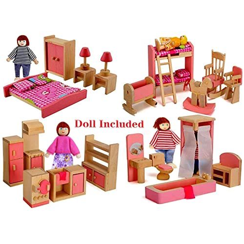 4 Sets Vintage Wooden Dollhouse Furniture Pieces for Doll House Miniatures