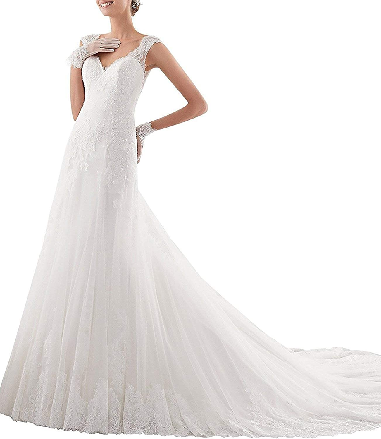 Yilian Women's Lace Applique Wedding Dresses for Brides 2018 with Train See Through Back Gowns