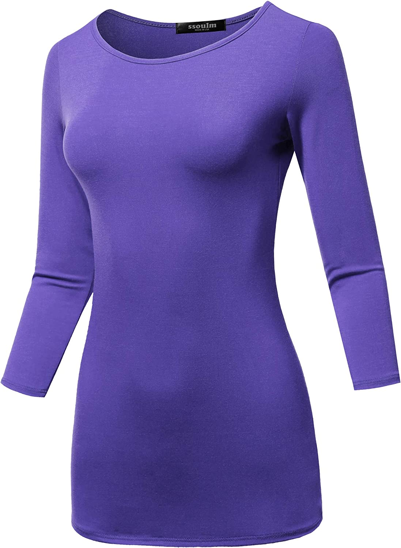 SSOULM Women's 3 4 Sleeve Silky Stretchy Crewneck Slim Fit TShirt Top (S3XL)