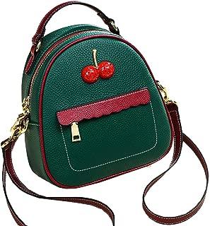 Heshe Womens Leather Backpack Fashion Casual Ladies Daypack for Girls Shoulder Bag (Dark Green)