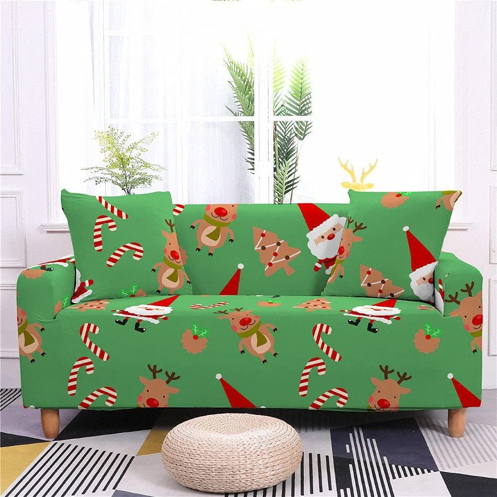 Furniture Covers Stretch Sofa Year-end annual account Slipcovers Cartoon Cute half Santa Clau