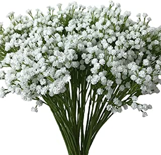 Aisamco 2 Pack Artificial Baby's Breath 14 Forks, Fake Baby's Breath Bulk Flower Bush Artificial Gypsophila in White 15.7