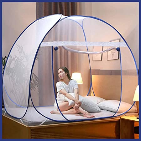 REXERA Foldable Mosquito Net /Machhardani - Double Bed, King-Size 200 cm (6.5ft) X 200 cm (6.5ft) X 145 cm - Blue, Strong 30GSM net, High Durability, Foldable, Corrosion Resistant, Lightweight
