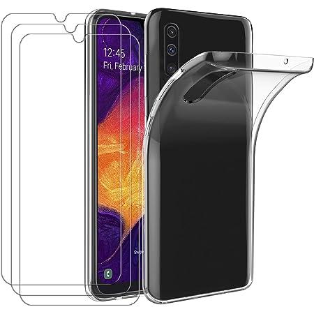 iVoler Custodia Cover per Samsung Galaxy A50 / A50S / A30S + 3 Pezzi Pellicola Protettiva in Vetro Temperato, Ultra Sottile Morbido TPU Trasparente Silicone Antiurto Protettiva Case